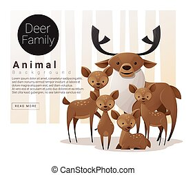 Cute animal family background with Deers