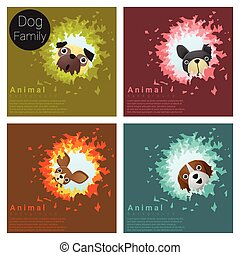 Cute animal family background with Dogs 6