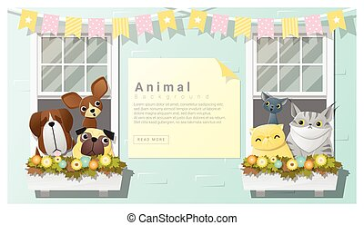 Cute animal family background with Dogs and Cats
