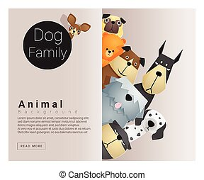 Cute animal family background with Dogs 2
