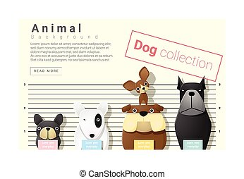 Cute animal family background with Dogs, vector ,...
