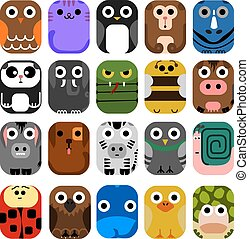 Cute Animal Icon Set No.1.