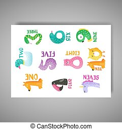 Cute animal numbers from 1 to 10 hand drawn vector illustration for nursery poster, baby invitation card, stickers, flyer, greetings, wall art