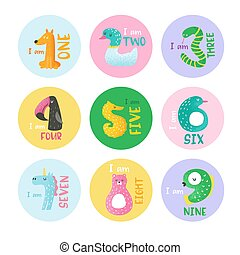 Cute animal numbers from 1 to 9 hand drawn vector illustration for stickers, nursery poster, baby invitation card, flyer, greetings, wall art