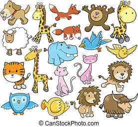 Cute Animal Safari Vector Set - Cute Animal Safari Wildlife ...