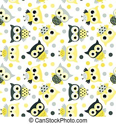 Cute animal seamless pattern with cartoon owls in yellow and grey colors for kids clothing, invitations and wrapping paper