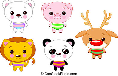 Cute animal set 01 - Cute funny baby animals set. Vector...