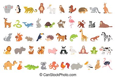 Cute animal set with farm and wild character. Cat and lion, elephant