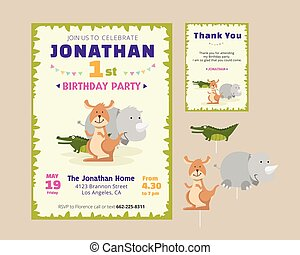 Jungle zoo party invitation jungle cute animal theme birthday party invitation and thank you card illustration template stopboris Images