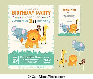Jungle zoo party invitation jungle vector clipart search cute animal theme birthday party invitation and thank you card illustration template stopboris Gallery