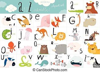 Cute animal vector Alphabet table