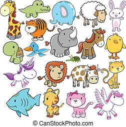 Cute Animal Vector Design elements