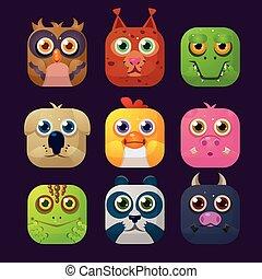 Cute Animal Vector Illustration Icon Set