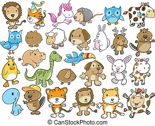 Cute Animal Vector Illustration Set - Cute Animal Vector...
