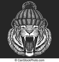 9951cb0f4 Cute animal wearing knitted winter hat Wild tiger Hand drawn image for  tattoo, emblem,