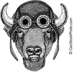 166c4710f Buffalo, bison,ox, bull Hand drawn image for tattoo, emblem, badge logo  patch · Cute animal wearing knitted winter hat ...