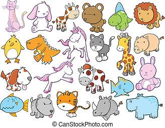 Cute Animal Wildlife Vector set - Cute Animal Wildlife...