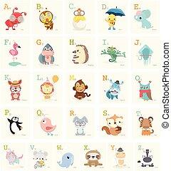 Cute Animals alphabet for kids education.