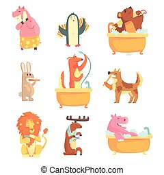 Cute animals bathing and washing in water, set for label design. Hygiene and care, cartoon detailed Illustrations