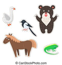 Cute Animals Cartoon Flat Vector Stickers Set