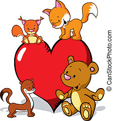 cute animals cartoon with valentines heart - fox, bear, weasel and squirrel