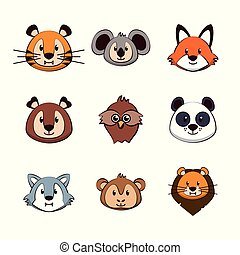Cute animals cartoons icons