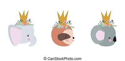 Cute animals cartoons vector design