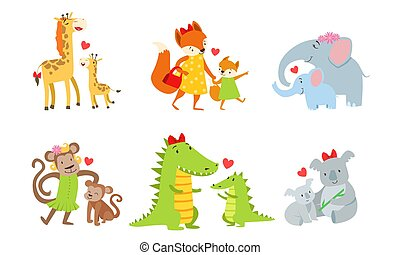 Cute animals couple mom and baby. Vector illustration.