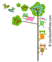 cute animals design - cute animals with tree and birds
