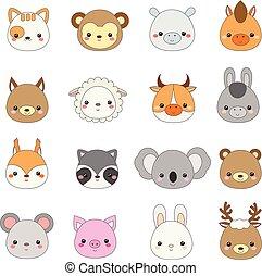 Cute animals faces. Big set of cartoon kawaii wildlife and farm animals icons