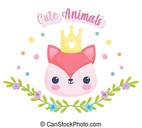 cute animals fox face with crown leaves flowers cartoon