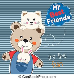 Cute animals friends, bear, cat and rabbit. Happy Friendship day.
