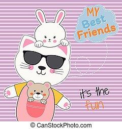 Cute animals friends, bear, cat in sunglasses and rabbit.