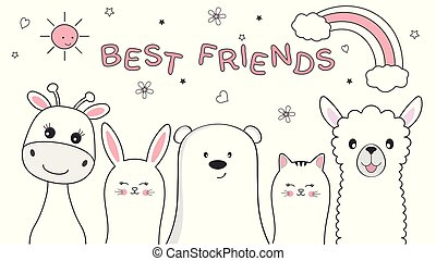 Cute animals giraffe, cat, bear, rabbit and llama best friends. Happy friendship day.