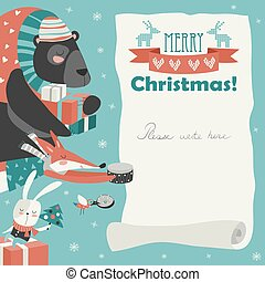 Cute animals giving presents. Merry Christmas Card