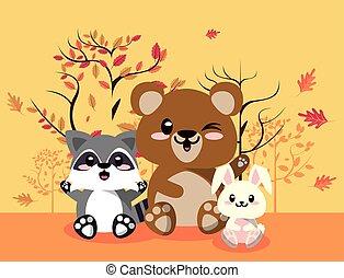 cute animals group in landscape scene