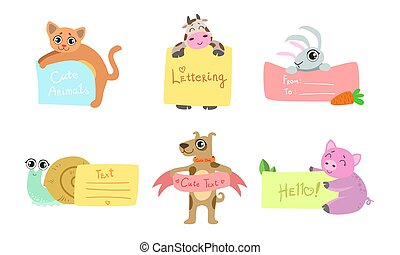 Cute Animals Holding Banners Set, Adorable Happy Cartoon Characters Standing with Blank Sheets of Paper, Cat, Cow, Snail, Rabbit, Dog, Piglet, Pig Vector Illustration