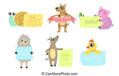 Cute Animals Holding Banners Set, Adorable Happy Cartoon Characters Standing with Blank Sheets of Paper, Snail, Dog, Pig, Sheep, Goat, Chicken Vector Illustration