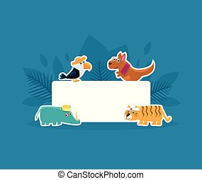 Cute Animals Holding Empty Banner, Toucan, Kangaroo, Rhino, Tiger Stickers with White Blank Signboard Vector Illustration