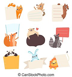 Cute Animals Holding Empty Banners Set, Funny Cartoon Cat, Dog, Bear, Fox, Sheep, Raccoon, Panda, Rabbit, Lion with Blank Sign Boards Vector Illustration