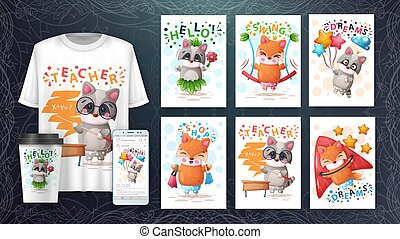 Cute animals illustration. Cartoon raccoon and fox