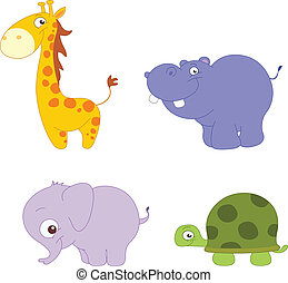Cute animals - Illustration Set of cute animals: giraffe, ...