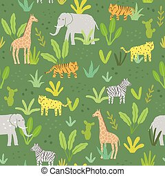 Cute animals in a jungle.