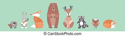 Cute animals in simple nordic style. Woodland characters with kind faces for baby shower design. Flat vector illustration.