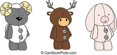 cute animals kawaii style cartoons collection set