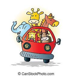 Cute animals on car. Cartoon illustration.