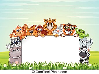 Cute Animals on Nature. Vector Cartoon Background - Cute...