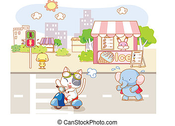 cute animals playing on the road