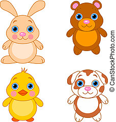 Cute funny baby animals set.