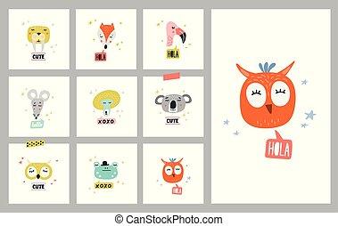 Cute animals set of vector illustrations